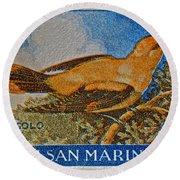San Marino 1 Lire Stamp Round Beach Towel