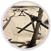 Sand And Fences Round Beach Towel by Heather Applegate