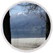 Sand Beach On An Alpine Lake Round Beach Towel