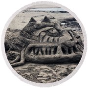 Sand Dragon Sculputure Round Beach Towel
