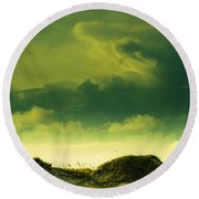 Sand Dunes And Clouds Round Beach Towel by Marilyn Hunt