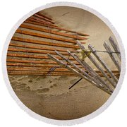 Sand Fence Falling Down On The Beach Round Beach Towel