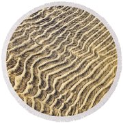 Sand Ripples In Shallow Water Round Beach Towel by Elena Elisseeva