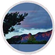 Sandia Mountains At Sunset Round Beach Towel