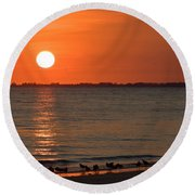 Sandpipers At Sundown Round Beach Towel