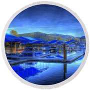 Sandpoint Marina And Power House 1 Round Beach Towel