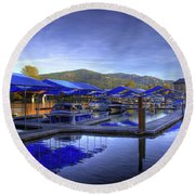 Sandpoint Marina And Power House 2 Round Beach Towel