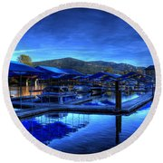 Sandpoint Marina And Power House 3 Round Beach Towel