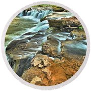 Sandstone Falls In The New River Round Beach Towel