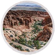 Sandstone Fins Of Arches National Park Round Beach Towel