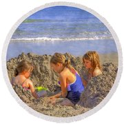 Sandy Fingers Sandy Toes Round Beach Towel