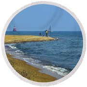 Sandy Point Fisherman Round Beach Towel