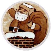Santa Claus Gifts Original Coffee Painting Round Beach Towel