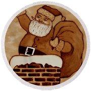 Santa Claus Is Coming Round Beach Towel by Georgeta  Blanaru