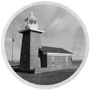 Santa Cruz Lighthouse - Black And White Round Beach Towel