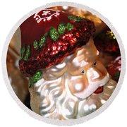 Santa Glass Ornament Round Beach Towel
