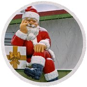 Santa Is Waiting For You Round Beach Towel