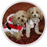 Santa Puppies Round Beach Towel