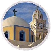 Santorini Church Round Beach Towel