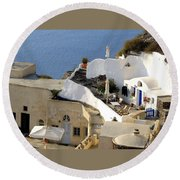 Santorini Terrace Round Beach Towel