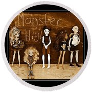 Sarah's Monster High Collection Sepia Round Beach Towel
