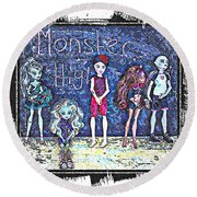 Sarah's Monster High Collection Sketch Round Beach Towel