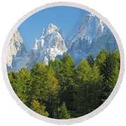 Sasso Lungo Group In The Dolomites Of Italy Round Beach Towel