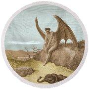 Satan Finding Serpent, By Dore Round Beach Towel