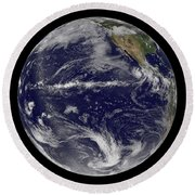 Satellite Image Of Earth Centered Round Beach Towel by Stocktrek Images