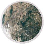 Satellite Image Of Flood Waters Round Beach Towel