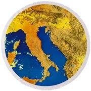 Satellite Image Of Italy Round Beach Towel
