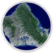 Satellite Image Of Oahu, Hawaii Round Beach Towel