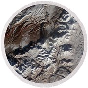 Satellite Image Of Russias Kizimen Round Beach Towel