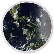 Satellite Image Of The Philippines Round Beach Towel