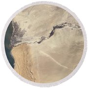 Satellite Image Of The Swakop River Round Beach Towel