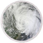 Satellite Image Of Tropical Storm Muifa Round Beach Towel