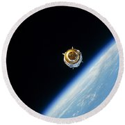 Satellite In Outer Space Round Beach Towel