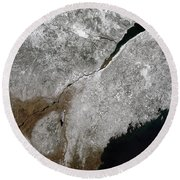 Satellite View Of A Frosty Landscape Round Beach Towel by Stocktrek Images