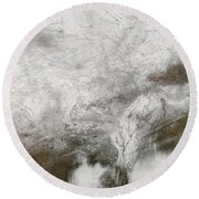 Satellite View Of A Severe Winter Storm Round Beach Towel