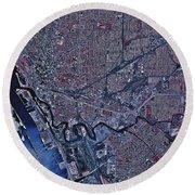 Satellite View Of Buffalo, New York Round Beach Towel