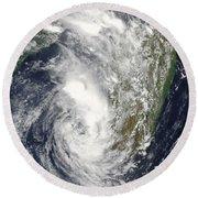 Satellite View Of Cyclone Giovanna Round Beach Towel