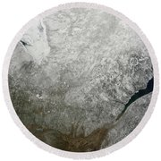Satellite View Of Eastern Canada Round Beach Towel