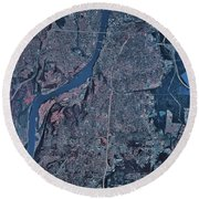 Satellite View Of Little Rock, Arkansas Round Beach Towel