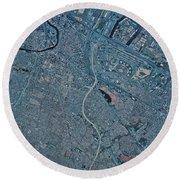 Satellite View Of Newark, New Jersey Round Beach Towel