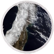Satellite View Of Northeast Japan Round Beach Towel by Stocktrek Images