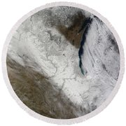 Satellite View Of Snow And Cold Round Beach Towel