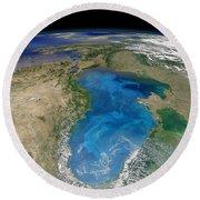 Satellite View Of Swirling Blue Round Beach Towel