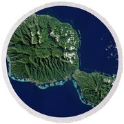 Satellite View Of Tahiti Round Beach Towel