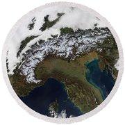 Satellite View Of The Alps Round Beach Towel