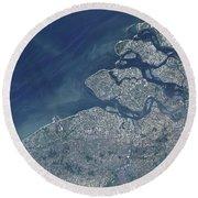 Satellite View Of The Belgium Coastline Round Beach Towel
